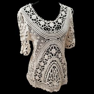 Anthropologie Solitaire Crochet Blouse Top
